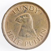 "Reverse of ""Half Puffin"" coin, Lundy 1929"