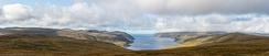Panoramic view of the Barents sea near Honningsvåg, Norway.