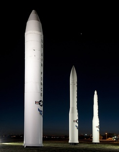 From left are the Peacekeeper, the Minuteman III and the Minuteman I