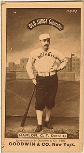 Old Judge baseball card of Hanlon with Detroit, 1887