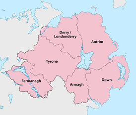 Counties of Northern Ireland, relative to Lough Neagh