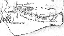 A map of the planned route of Portsmouth and Arundel Canal across Portsea Island from 1815