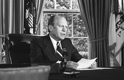 President Ford announcing his decision to pardon Nixon, September 8, 1974, in the Oval Office