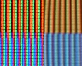Tiny Red, green and blue sub-pixels (enlarged on left side of image) create the colors you see on your computer screen and TV.