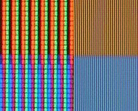 RGB sub-pixels in an LCD TV (on the right: an orange and a blue color; on the left: a close-up)