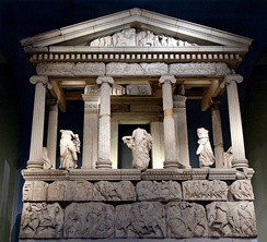 Partial reconstruction of the Nereid Monument at Xanthos in Lycia, c. 390–380 BC.