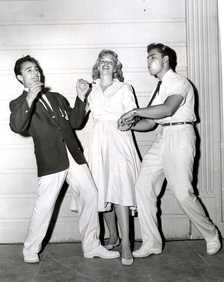 Saxon (right) with Sal Mineo and Sue George a publicity still photo for Rock, Pretty Baby (1956).