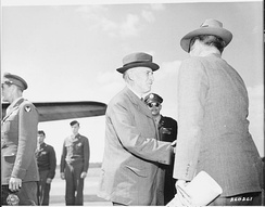 Secretary of War Henry Stimson greets his assistant John McCloy at RAF Gatow.