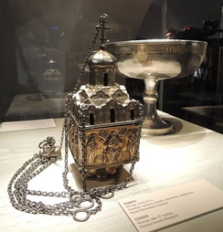 Censer in form of a one-domed cubic Russian church, late 15th-early 16th century, silver, total height: 27.5 cm, width: 10.5 cm, the Moscow Kremlin Museums (Moscow, Russia)