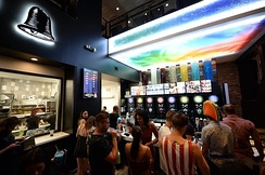 The downstairs interior of the Taco Bell Cantina flagship store in Las Vegas, Nevada.