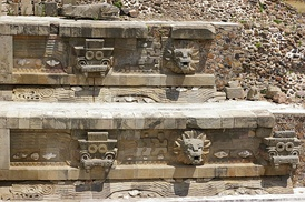 Teotihuacan - Temple of the Feathered Serpent - architectural detail to the right of the steps.