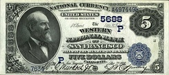 James A. Garfield - $5 National Bank Note