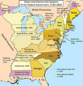 The first State Cessions. The 13 original states ceded their western claims to the federal government, allowing for the creation of the country's first western territories and states.