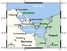 Oder Lagoon area with border on western bank of the Oder, city of Szczecin to the south.