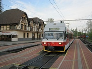 A tram in the northern town of Vysoké Tatry