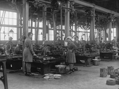 Women workers at the Royal Gun Factory, Woolwich Arsenal, London