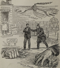 A 1902 anti-monopoly cartoon depicts the challenges that monopolies may create for workers.