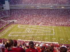 The Razorback Marching Band in formation at Razorback Stadium.