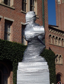 """Tommy Trojan"" wrapped in duct tape during rivalry week"