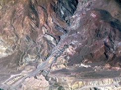 Aerial view of Calico, with the hillside letters visible.