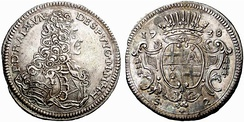 Two Scudi silver coin of Ramon Despuig, 1738
