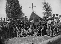 Officers and men of the Irish-Catholic 69th New York Volunteer Regiment attend Catholic services in 1861.