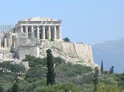 The Parthenon on top of the Acropolis, Athens, Greece