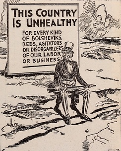 Anti-socialist cartoon in a railroad-sponsored magazine, 1912