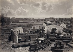 Atlanta's rail yard and roundhouse in ruins shortly after the end of the Civil War