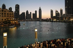 The Dubai Fountain in Burj Khalifa lake, Downtown Dubai