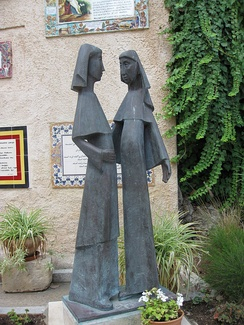 Statue of the Visitation at Church of the Visitation in Ein Karem, Israel