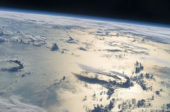 An image captured from the ISS while flying over the Philippine Sea
