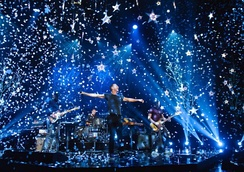 Coldplay performing at the 2016 Brit Awards at The O2 in London, February 2016. Their nine Brit Awards include four British Group awards.