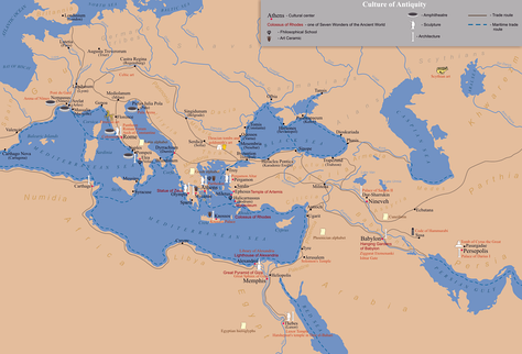 A map of the ancient world, centred on Greece.