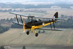 A de Havilland Tiger Moth restored in wartime colours.