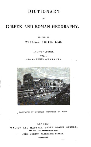 Title page to the 1856 edition of The Dictionary of Greek and Roman Geography, vol. 1.