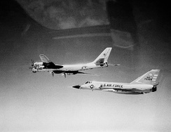 A Soviet Tu-95 is intercepted by a F-106A off Cape Cod in 1982