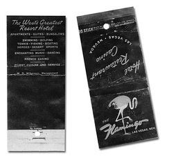 """The West's Greatest Resort Hotel"", matchbook advertising the Flamingo resort, circa 1946"