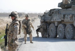 Soldiers from the Canadian Grenadier Guards in Afghanistan. The Canadian Armed Forces were deployed in Afghanistan as a part of the NATO-led United Nations International Security Assistance Force until 2011.
