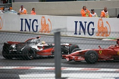 Hamilton spins on the second lap of the race, allowing Kimi Räikkönen to pass him for the lead.