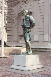 The R. Tait McKenzie sculpture Ideal Scout depicts a Scout in traditional uniform