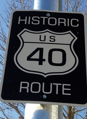 A sign in California recognizing an old alignment of US 40