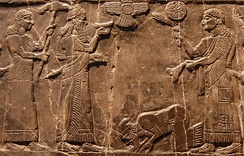 Jehu, king of Israel, bows before Shalmaneser III of Assyria, 825 BC.