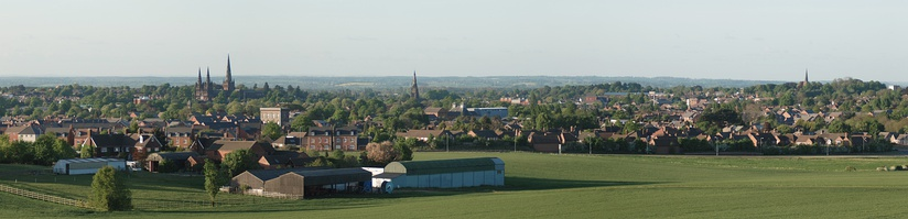 Panorama from Harehurst Hill 1.5 mi (2.4 km) south west of the cathedral, showing Lichfield's distinctive 5 spires