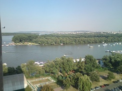 Great War Island, Belgrade, as seen from Zemun, Serbia. It is located at the confluence of the Sava and Danube.