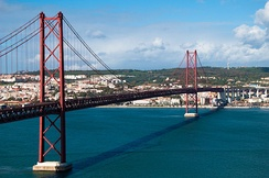 The 25 de Abril Bridge crosses the Tagus River from Alcântara to Almada.