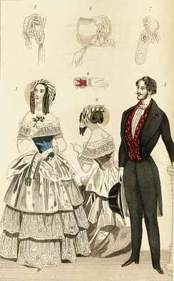 1844 fashion plate depicting fashionable clothing for men and women, including illustrations of a glove and bonnets