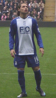 Zárate playing for Birmingham City in 2008
