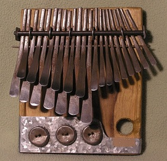 The lamellophone thumb piano or mbira, a popular instrument in the African Great Lakes