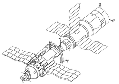 "A drawing of the last flown TKS spacecraft, Kosmos 1686, depicted docked to the Salyut 7 space station. The VA capsule is visible on the bottom left. The ""nose section"" of the VA spacecraft, that would have contained the de-orbit engines for the VA capsule, has been replaced with remote sensing instruments.[5][8]"
